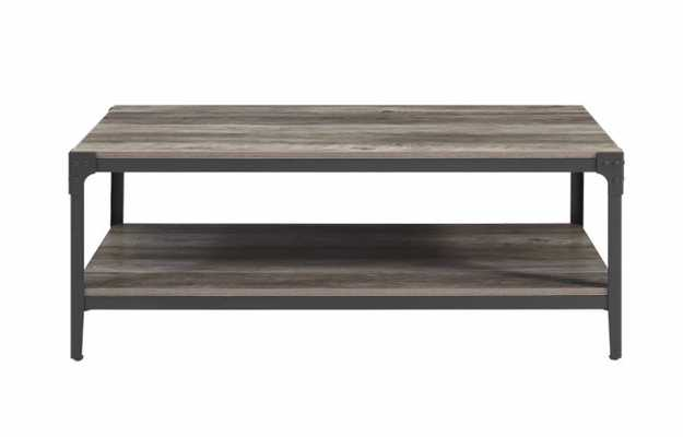 Angle Iron Rustic Wood Coffee Table - Grey Wash - Home Depot