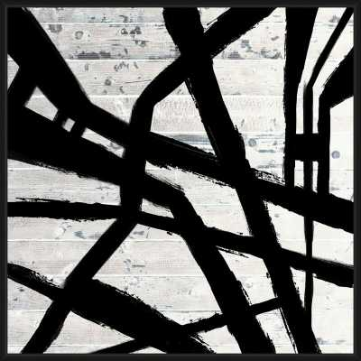 'PAINTED CROSSED LINES WHITE' FRAMED GRAPHIC ART PRINT ON CANVAS - Perigold