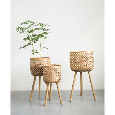 Round Bamboo Floor 3 Piece Wicker Basket Set - Wayfair