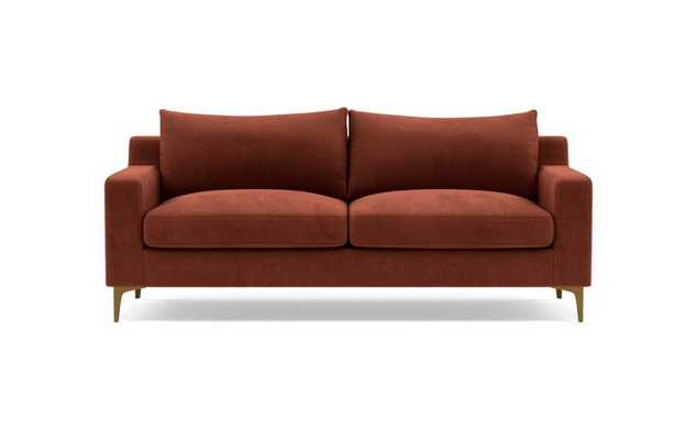 Sloan Sofa with Red Rust Fabric, down alternative cushions, and Brass Plated legs - Interior Define