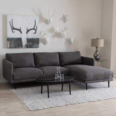 Riley 2-Piece Mid-Century Gray Fabric Upholstered Right Facing Chase Sectional Sofa - Home Depot