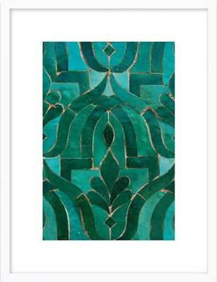 "Moroccan Tile 14""x20"" White wood frame - Artfully Walls"