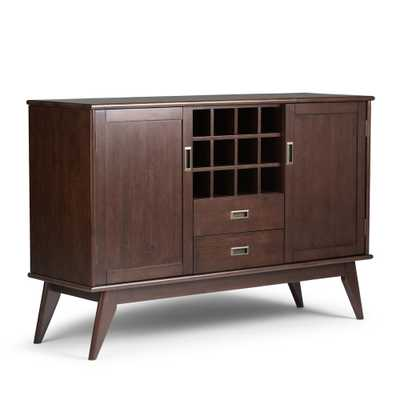 Draper Medium Auburn Brown Buffet with Wine Storage - Home Depot