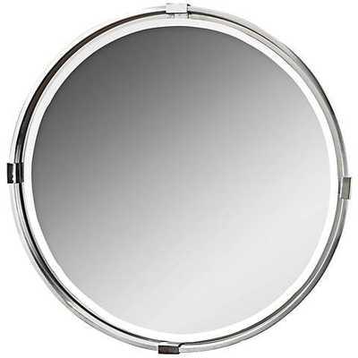 "Tazlina Brushed Nickel 29 1/2"" Round Wall Mirror - Hudsonhill Foundry"