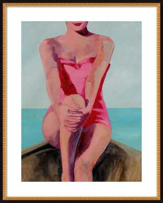 "Woman in a Boat - 28"" x 36"" with mat &  Flat Black Double Bead Wood, frame - Artfully Walls"