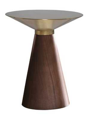 Iris Side Table in Brushed Gold & Walnut in Various Sizes design by Nuevo large - Burke Decor