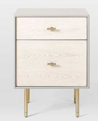Modernist Wood + Lacquer Nightstand - Winter Wood, Individual - West Elm