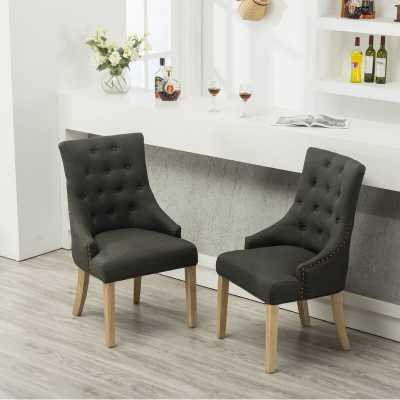 Miles City Button Tufted Wingback Hostess Upholstered Dining Chair Set of 2 - Wayfair