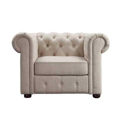 Greyleigh Quitaque Chesterfield Chair in Beige - Wayfair