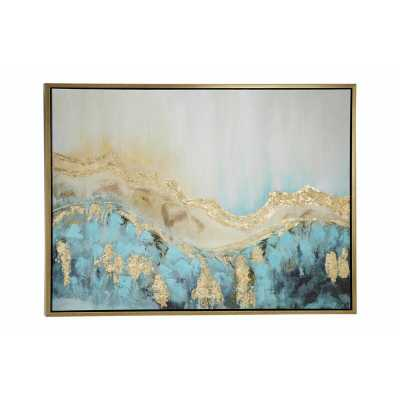"47.5"" x 35.5"" Large Turquoise & Gold Contemporary Abstract Painting in Metallic Gold Wood Frame - Wayfair"