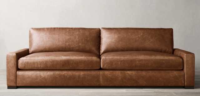 MAXWELL LEATHER SOFA; Classic; 7'; Standard Fill; Brown Oak Finish; Italian Berkshire Chestnut - RH