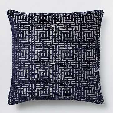 "Allover Crosshatch Jacquard Velvet Pillow Cover, 20""x20"", Nightshade - West Elm"