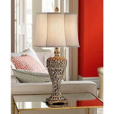 Elle Carved Antique Gold Classic Table Lamp - Lamps Plus