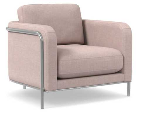 Nina Chair, Poly, Yarn Dyed Linen Weave, Dusty Blush, Polished Stainless Steel - West Elm