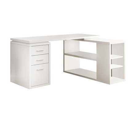White Hollow Core Left Or Right Facing Corner Desk - Hayneedle