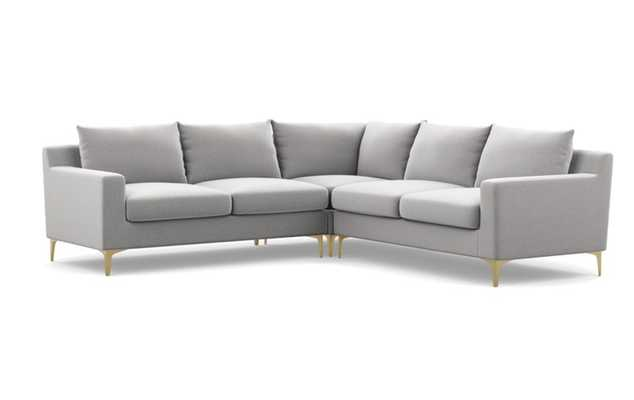 "SLOAN Corner Sectional Sofa, Performance Felt Ash, Brass L Leg, 101"" - Interior Define"