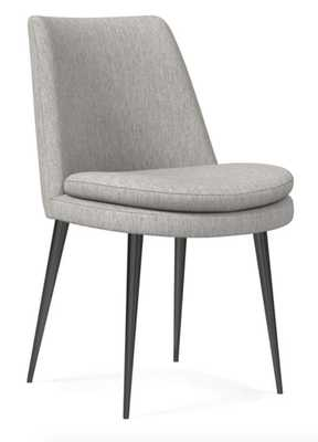 Mid-Century Upholstered Dining Chair - Performance Velvet, Dove Gray - West Elm