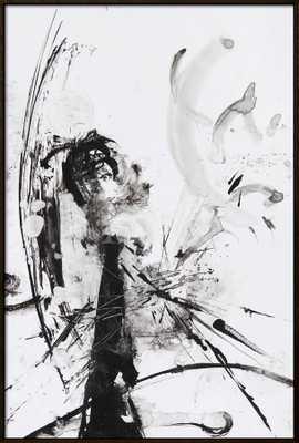 "Black And White Abstract Brush Painting /  Black Framed / 37"" x 55"" - art.com"