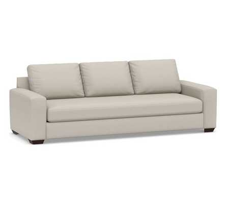 "Big Sur Square Arm Upholstered Grand Sofa 105"" with Bench Cushion, Down Blend Wrapped Cushions, Performance Heathered Tweed Pebble - Pottery Barn"