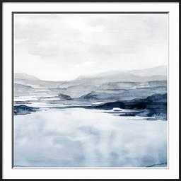 "Faded Horizon II By Grace Popp-  37.5"" x 37.5""- Frame Ronda Ii Black- Framed Premium Giclee Print- Glass Acrylic: Clear - art.com"