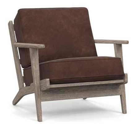 Raylan Leather Armchair with Brown Frame, Down Blend Wrapped Cushions, Nubuck Cocoa - Pottery Barn