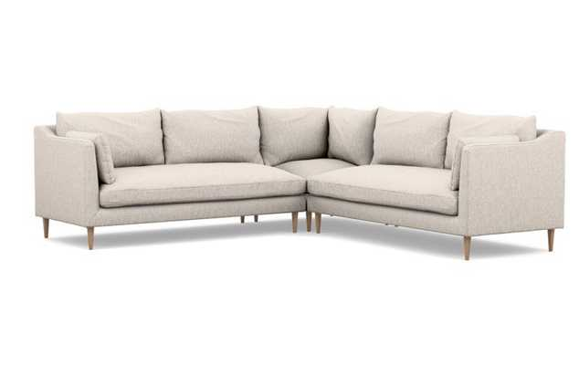 CAITLIN BY THE EVERYGIRL Corner Sectional Sofa in Wheat Cross Weave with natural oak legs - Interior Define