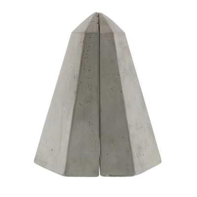 Geometric Cement Obelisk Bookends - Wayfair