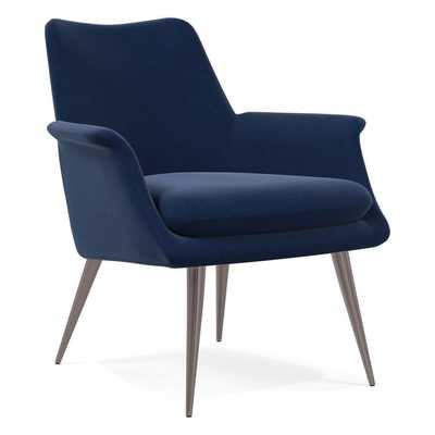 Finley Lound Chair, Poly, Performance Velvet, Ink Blue, Burnished Bronze - West Elm