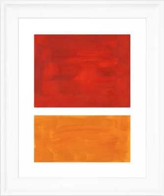 Burnt Orange Yellow Ochre Mid Century Modern Abstract Minimalist Rothko Color Field Squares Framed Art Print - Scoop White - Society6