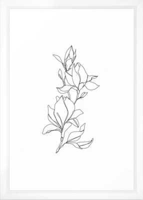 "Botanical illustration line drawing - 15"" x 21"" - vector white - Society6"