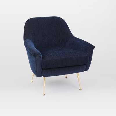 Phoebe Midcentury Chair, Ink Blue Distresed Velvet Brass, Poly - West Elm