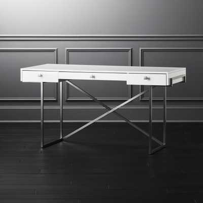 Avalon Hi-Gloss White Desk - CB2