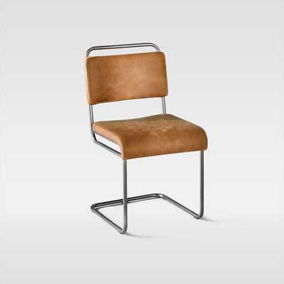 Industrial Cantilever Leather Chair, Saddle - West Elm