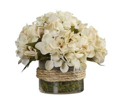 Hydrangea Floral Arrangement in Rope Glass Vase - Birch Lane