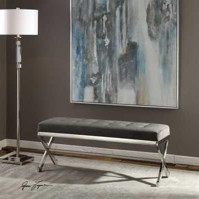 Bijou Gray Fabric Bench - Hudsonhill Foundry
