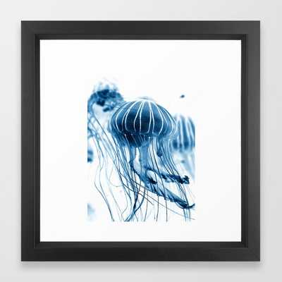 Jelly fish in the water Framed Art Print - Society6