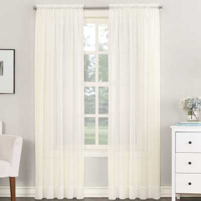 Emily Solid Color Sheer Rod Pocket Window Single Curtain Panel - Wayfair