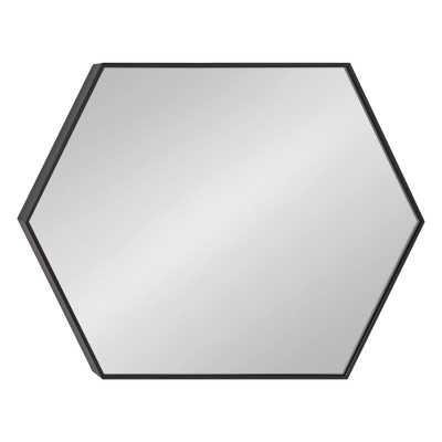 "Zaliki Mid Century Hexagon Beveled Accent Mirror - Black - 36.75"" x 24.75"" - Wayfair"