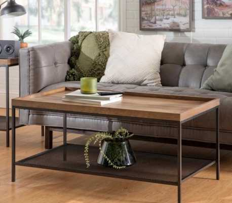 Walker Edison Furniture Company 18 in. Rustic Oak Wood Coffee Table with Lower Mesh Shelf - Home Depot