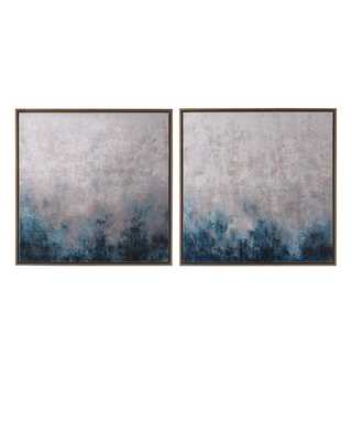 "Frost on Sapphire"" Original Paintings, 2-Piece Set"" - Horchow"