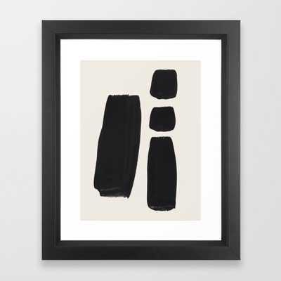Mid Century Modern Minimalist Abstract Art Brush Strokes Black & White Ink Art Square Shapes Framed Art Print, Vector Black Frame - Society6
