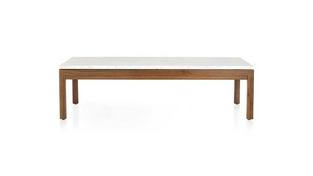 Parsons White Marble Top/ Elm Base 60x36 Large Rectangular Coffee Table - Crate and Barrel