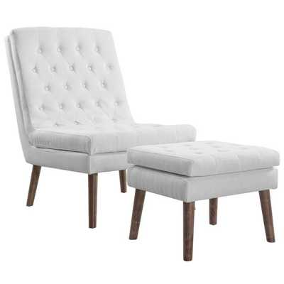 MODIFY UPHOLSTERED LOUNGE CHAIR AND OTTOMAN IN WHITE - Modway Furniture
