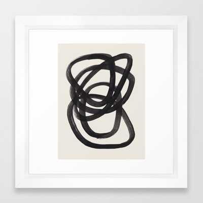 Mid Century Modern Minimalist Abstract Art Brush Strokes Black & White Ink Art Spiral Circles Framed Art Print - Society6