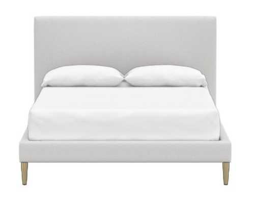Ellery Upholstered Bed, Queen, light gray bushed crossweave - Pottery Barn Teen