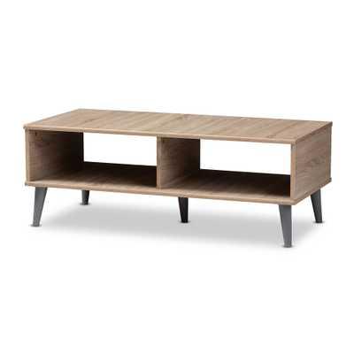 BAXTON STUDIO PIERRE MID-CENTURY MODERN OAK AND LIGHT GREY FINISHED WOOD COFFEE TABLE - Lark Interiors