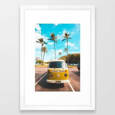 Classic V W Bus at Beach Framed Art Print - Society6