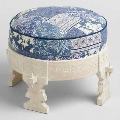 Whitewash Bajot Stool with Pouf - Fabric  by World Market - World Market/Cost Plus