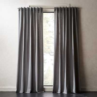"Graphite Grey Basketweave II Curtain Panel 48""x84"" - CB2"