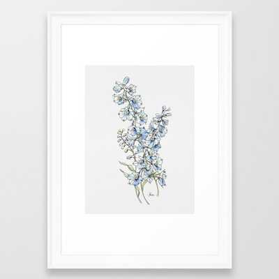 Blue Delphinium Flowers Framed Art Print by Jessica Rose - Society6